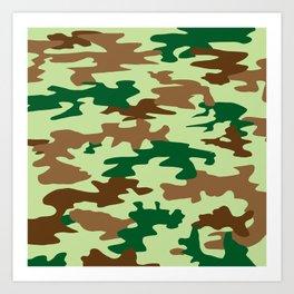 Camouflage Print Pattern - Greens & Browns Art Print