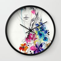 lost Wall Clocks featuring Lost by Holly Sharpe