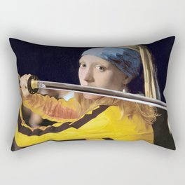 "Vermeer's ""Girl with a Pearl Earring"" & Kill Bill Rectangular Pillow"