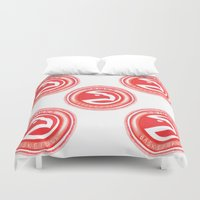 nba Duvet Covers featuring HAWKS HAND-DRAWING DESIGN by SUNNY Design