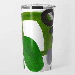 Mid Century Vintage 70's Design Abstract Minimalist Colorful Pop Art Olive Green Dark Green Grey Travel Mug