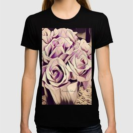 blush roses, lilac living, lilac floral, floral decor T-shirt