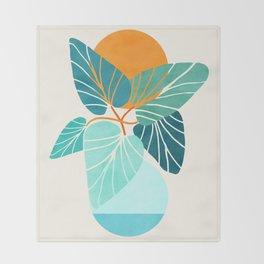 Tropical Symmetry / Retro Aqua Orange Palette Throw Blanket