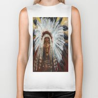 native american Biker Tanks featuring Native American by Mary J. Welty
