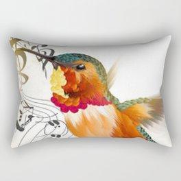 Colorful Hummingbird and Music Symbols Rectangular Pillow