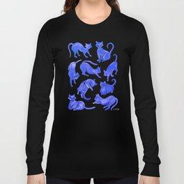 Cat Positions – Blue Palette Long Sleeve T-shirt