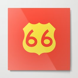 Route 66 • Travel and Road Trip Design • Red and Yellow Metal Print