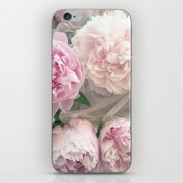 Shabby Chic Pastel Pink Peonies Wall Art - Peonies Home Decor iPhone Skin
