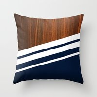 navy Throw Pillows featuring Wooden Navy by Nicklas Gustafsson