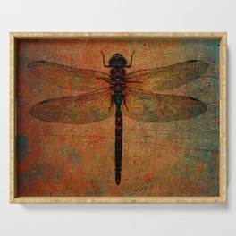 Dragonfly On Orange and Green Background Serving Tray