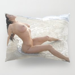 0061-SS Beautiful Naked Woman Nude Beach Sand Surf Big Breasts Long Black Hair Sexy Erotic Art Pillow Sham