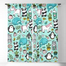Narwhal and Friends, Emoji Tween Print, Pre-teen Girls, Unicorns, Panda, Llamas and Doughnuts Blackout Curtain