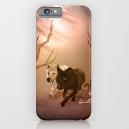 Awesome wolf in the darkness of the night iPhone Case