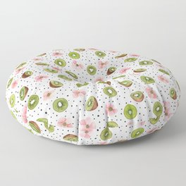 Kiwis with blush pink flowers and black dots watercolor Floor Pillow