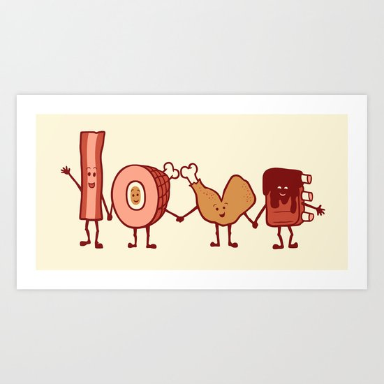 Meat Love U Art Print