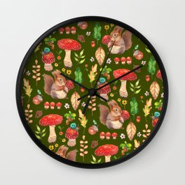Red mushrooms and friends - GBG Wall Clock
