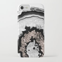 Gray Black White Agate with Rose Gold Glitter #1 #gem #decor #art #society6 iPhone Case