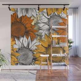 Beautiful pattern from hand drawn sunflowers Wall Mural