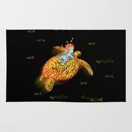 glowing turtle Rug