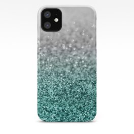 Silver Teal Ocean Glitter Glam #1 #shiny #decor #art #society6 iPhone Case