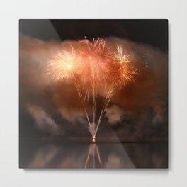 Copper colored fireworks display on lake Metal Print