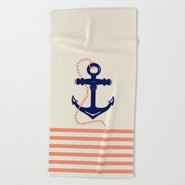 AFE Navy Anchor and Chain Beach Towel