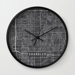 Chandler Map, USA - Gray Wall Clock