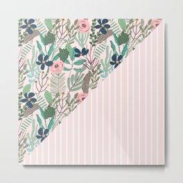 floral and stripe- pink/green Metal Print