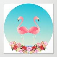 flamingos Canvas Prints featuring Flamingos by Juliana Zimmermann