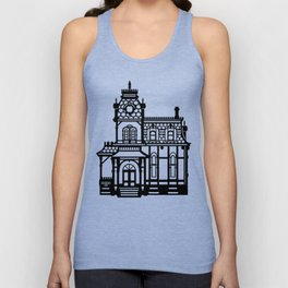 Old Victorian House - black & white Unisex Tank Top