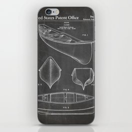 Canoe Patent - Kayak Art - Black Chalkboard iPhone Skin