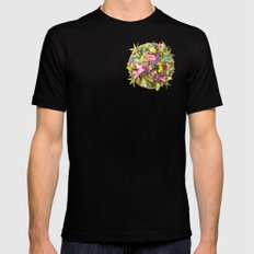 Flowers and Birds 1 Mens Fitted Tee MEDIUM Black
