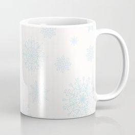 Assorted Light Blue Snowflakes On White Background Coffee Mug