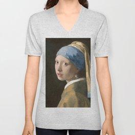 Johannes Vermeer - Girl with the pearl earring (1665) Unisex V-Neck