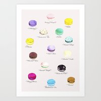 macarons Art Prints featuring Macarons   by Viola Brun Designs