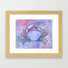 Crab Watercolor Mixed Media Art Framed Art Print