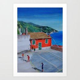 Italian village basketball Art Print