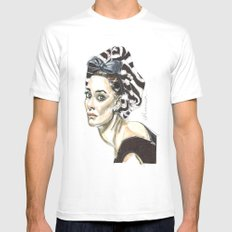 Audrey Hepburn White Mens Fitted Tee MEDIUM