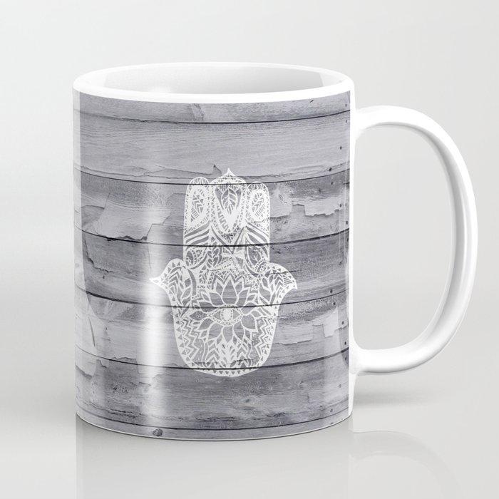 a32da4616a2 White hand drawn Hamsa hand of fatima on wood Coffee Mug by ...
