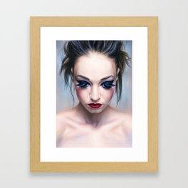 blue eyes, red lips Framed Art Print
