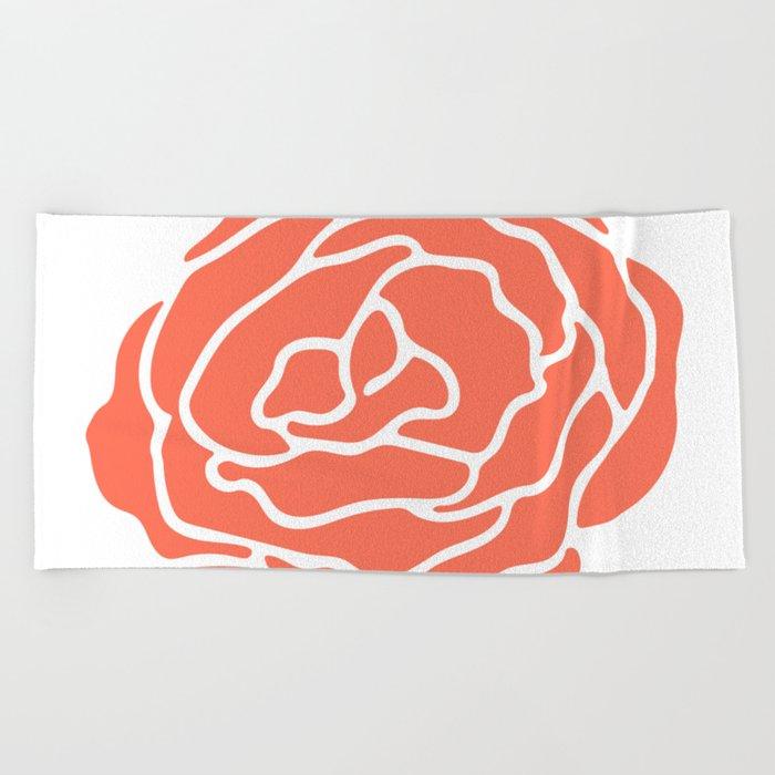 Rose Deep Coral on White Beach Towel