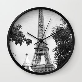 Paris in Black and White, Eiffel Tower Wall Clock