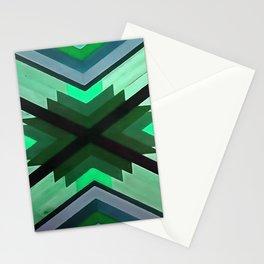 Navaho Vibes Geometric Pattern - Black Pine Aqua Stationery Cards