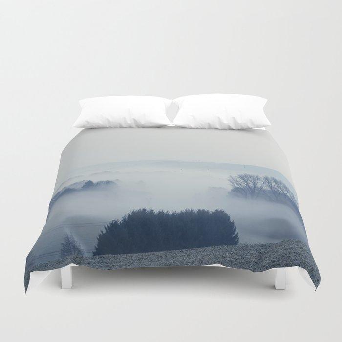 White Cover - Foggy Landscape Duvet Cover