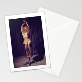 Tied up nude woman on a bar stool Stationery Cards