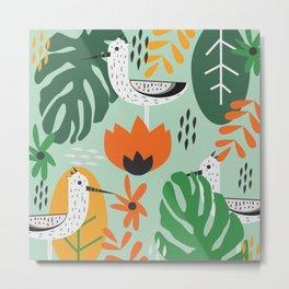 Birds and tropical botany Metal Print