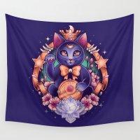 lara croft Wall Tapestries featuring Maneki Luna by Megan Lara