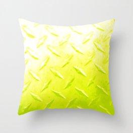 Bright Yellow Industrial Metal Sheeting Digital Photo Edited Throw Pillow