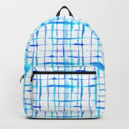 Watercolor Abstract Plaid TieDye in Indigo Ink Backpack