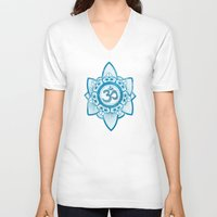 ohm V-neck T-shirts featuring Ohm - Yoga Print by Emily Anne Thomas